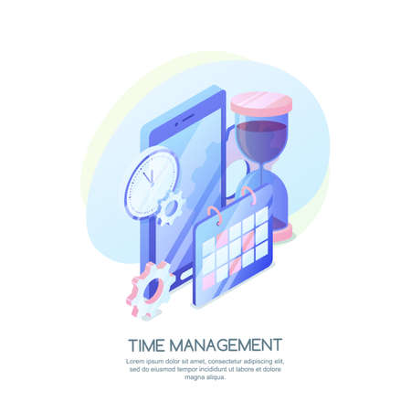 Time management, business strategy, planning concept. Vector 3d isometric illustration of schedule mobile app. Ilustracja