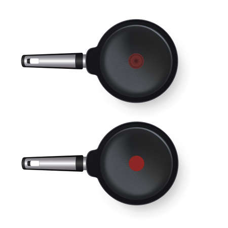 Vector realistic 3d illustration of round empty frying pan, isolated on white background. Top view icon. Hot and cold indicator pan.