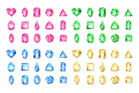 Set of vector realistic red, green, blue, yellow gems and jewels on white background. Multicolor shiny diamonds with different cuts. Design elements and icons for holiday gift and jewelry shop.