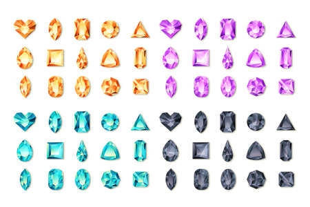 Set of vector realistic turquoise, black, purple, orange gems and jewels on white background. Multicolor shiny diamonds with different cuts. Design elements and icons for holiday gift and jewelry shop Ilustracja