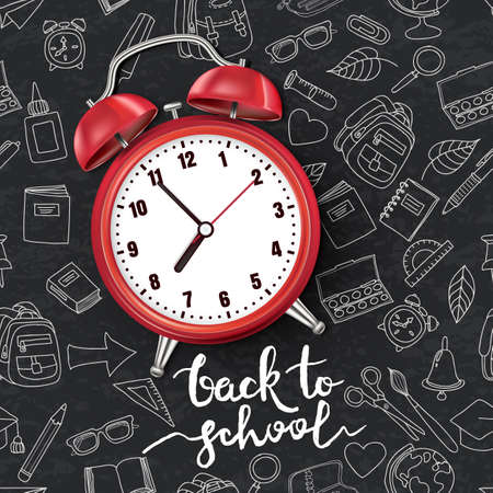 Back to school vector illustration. Realistic 3d red alarm clock on black board background with outline doodle school supplies. Concept and design elements for poster, banner, flyer.