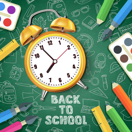 Back to school vector illustration. Realistic 3d yellow alarm clock on green board background with outline doodle school supplies. Concept and design elements for poster, banner, flyer.