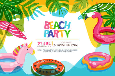 Swimming pool frame with flamingo and unicorn float kids toys. Beach party vector summer poster, flyer, banner design template. Trendy doodle illustration. 向量圖像