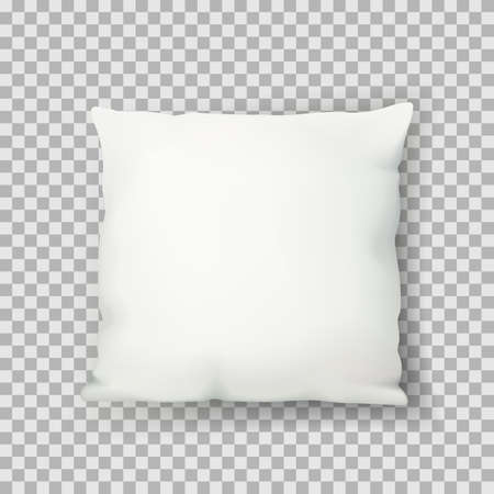 Vector realistic 3d illustration of white square sleeping pillow, isolated on transparent background. Cotton cushion top view icon. Mock up design template.