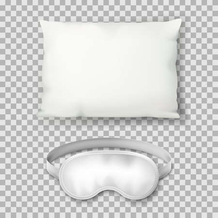Vector realistic 3d illustration of white rectangular pillow and sleeping mask, isolated on transparent background. Cotton cushion top view icon. Mock up design template.