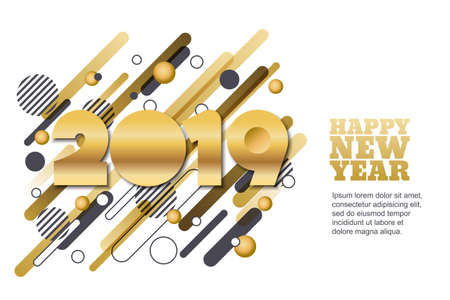 Happy New Year 2019 vector paper cut horizontal banner or greeting card. Golden numbers on motion geometric shapes background. Trendy design elements for poster, party invitation. Ilustracja