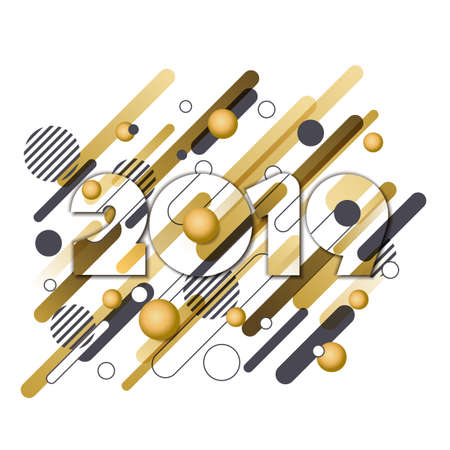 Happy New Year 2019 vector paper greeting card. Golden numbers with motion geometric shapes isolated on white background. Trendy design elements for poster, party invitation and holiday banner. 向量圖像