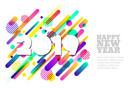Happy New Year 2019 vector paper horizontal banner or greeting card. White paper cut numbers on motion dynamic shapes background. Trendy design elements for poster, party invitation.