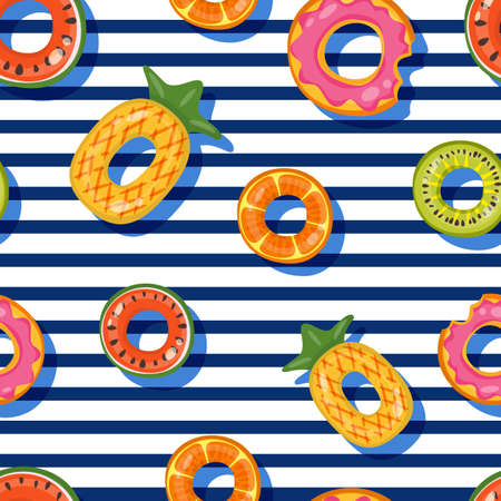 Vector seamless swimming pool float rings pattern. Top view illustration of inflatable kids toys on striped background. Fashion design for summer textile print. Vectores