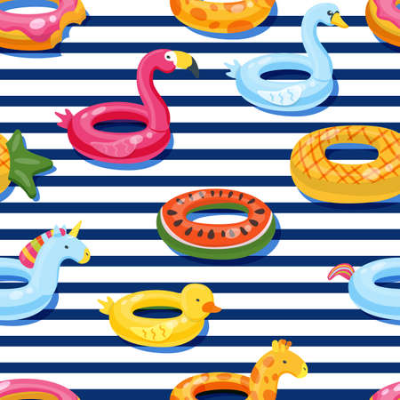Vector seamless swimming pool float rings pattern. Multicolor inflatable cute kids toys on navi striped background. Fashion design for summer textile print.