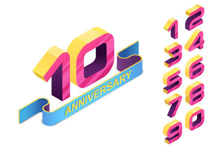 Anniversary emblem template. 3d style isometric numbers and colorul ribbon. Vector icons and design elements for poster, flyer, greeting cards, invitation.