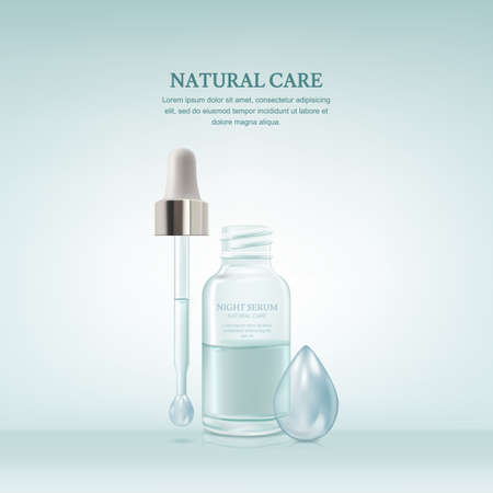 Vector realistic 3d illustration of cosmetic serum in transparent glass bottle on blue background. Skincare beauty product design. Packaging mockup template. 向量圖像