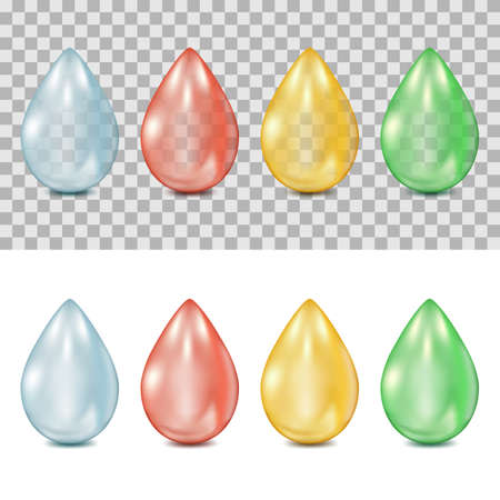 Set of vector 3d realistic multicolor drops on transparent and white background. Droplets of water, blood, oil, green plant juice. Isolated design elements and icons.