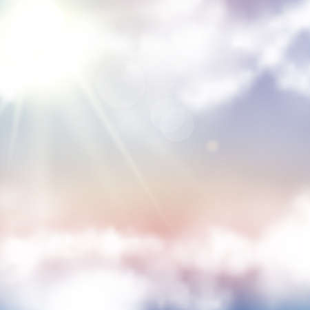 Vector realistic sunset sky. Abstract background with pink, purple and blue colors clouds. Dreamy fantasy gradient background in soft pastel colors.