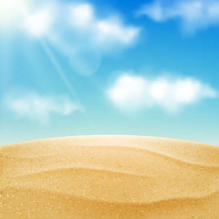 Vector realistic beach landscape. Yellow sand desert and blue sky with clouds. Summer vacation background.