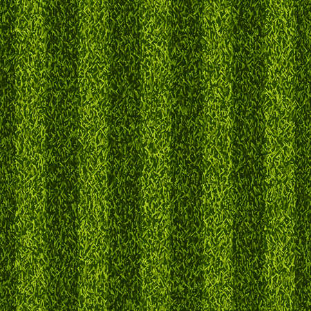 Vector realistic top view illustration of soccer green grass field. Seamless striped line football stadium texture. Sports lawn background. Illustration