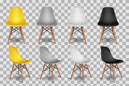 Vector realistic 3d illustration of yellow, white, gray, black chairs, isolated on transparent background. Loft interior objects design elements. Frontal and isometric armchairs.