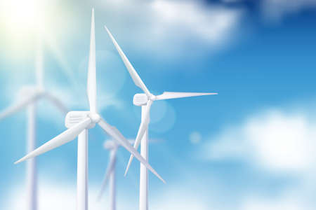 Vector realistic 3d illustration of wind turbine generator against blue cloudy sky. Alternative eco energy technologies and environmental business concept. Illustration