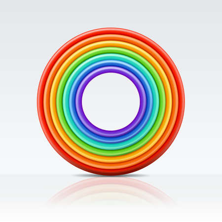 Vector multicolor 3d style illustration of circle rainbow frame. Plasticine or clay abstract background.