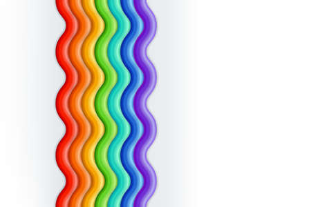 Vector multicolor 3d style illustration of rainbow. Plasticine or clay abstract striped background.