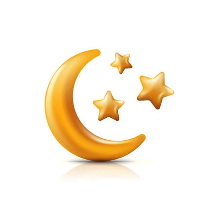 Vector 3d style illustration of golden moon and stars. Decorative gold holiday icons and design elements.