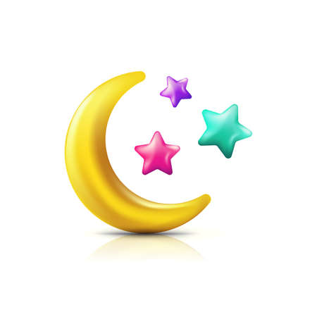Vector 3d style illustration of multicolor moon and stars. Decorative colorful holiday icons and design elements. 向量圖像