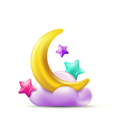 Vector 3d style illustration of multicolor stars and golden moon on purple cloud. Colorful holiday candy icons and design elements.