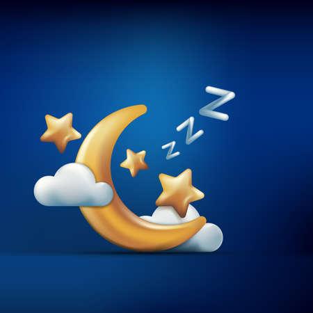Vector l'illustrazione di stile 3d della luna dorata, delle stelle e delle nuvole su fondo blu. Concetto di sonno. Icone di sogno notturno ed elementi di design. Vettoriali