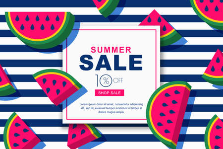 Summer sale vector banners set with flat 3d style watermelon slices. Tropical fruits and navy stripes geometric background. Layout for discount labels, flyers and shopping.