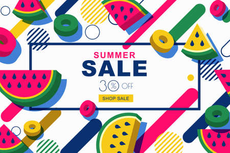 Summer sale vector banners set with flat 3d style watermelon slices and motion geometric shapes. Tropical fruits geometric background. Layout for discount labels, flyers and shopping.