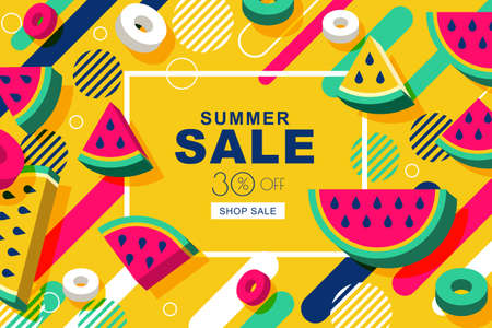 Summer sale vector banners with flat 3d style watermelon slices and motion geometric shapes. Layout for discount labels, flyers and shopping. Yellow geometric background. 向量圖像
