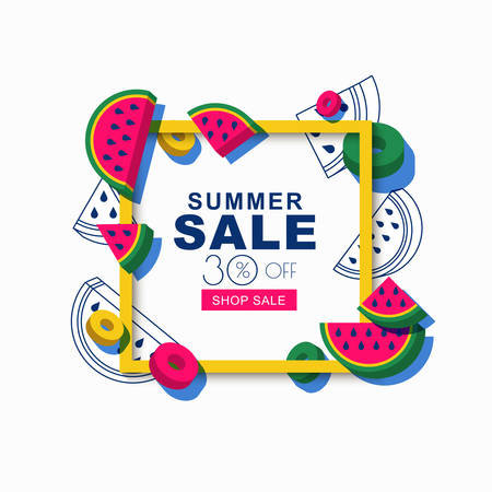 Summer sale vector banner or poster with isolated square frame and 3d style watermelon slices. Tropical fruits geometric background. Layout for discount labels, flyers and shopping.