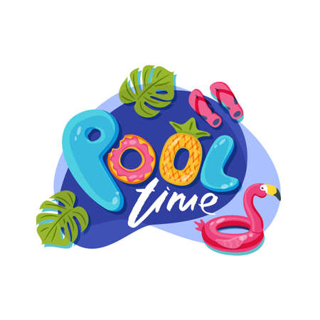 Swimming pool time cute letters. Vector label, sticker or print design. Flamingo float kids toys. Summer doodle illustration. Ilustracja