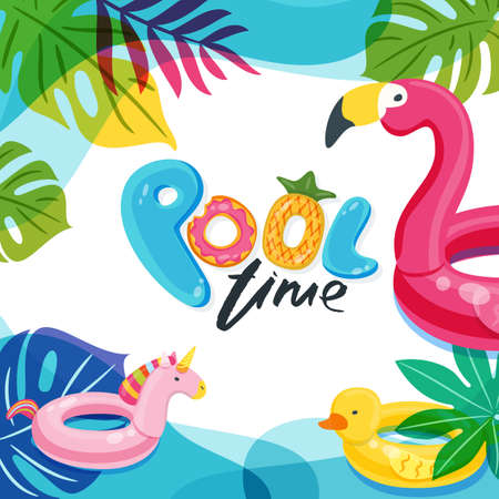 Swimming pool time cute letters. Water frame with flamingo, duck and unicorn float kids toys. Beach party vector summer poster, flyer, banner design template. Trendy doodle illustration.