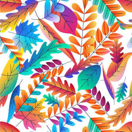 Vector seamless pattern with color gradients autumn leaves. Fantasy plants background. Fall cartoon illustration. Design for fabric, textile print, wrapping paper. 向量圖像