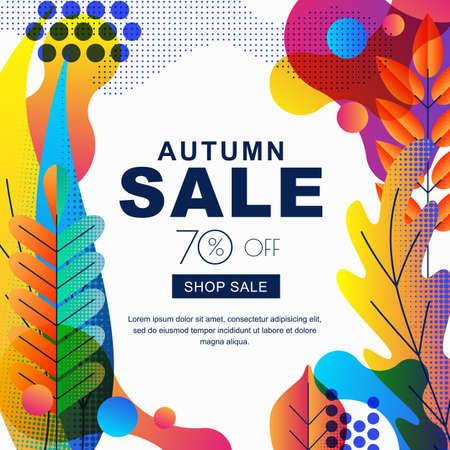 Autumn sale vector banners with color gradients leaves. Fall illustration background. Layout for poster, discount labels, flyers. Ilustracja