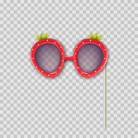 Vector realistic 3d illustration of photo booth props strawberry glasses. Object isolated on transparent background. Summer funky photo design element weddings, birthdays, and celebrations.