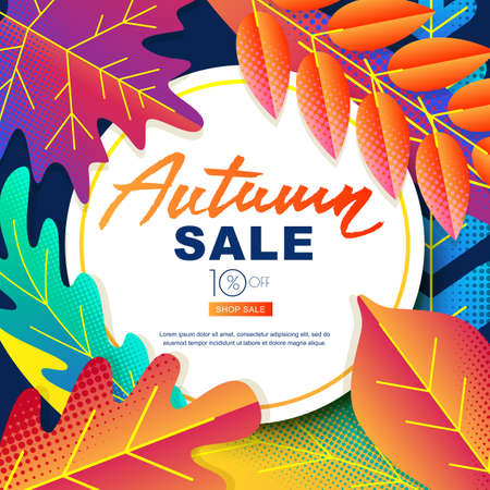 Autumn sale vector banners with circle white frame and color gradients leaves. Fall illustration background. Layout for poster, discount labels, flyers. 向量圖像