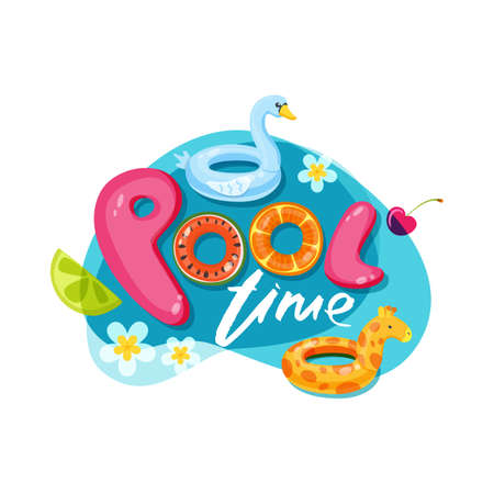 Swimming pool time cute letters. Vector label, sticker or print design. Swan and giraffe float kids toys. Summer doodle illustration.