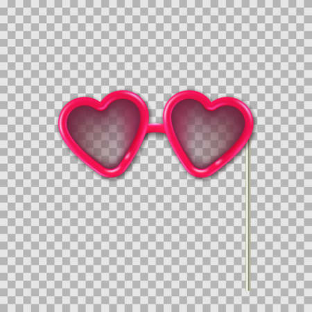 Vector realistic 3d illustration of photo booth props pink hearts glasses. Object isolated on transparent background. Summer funky photo design element weddings, birthdays, and celebrations.