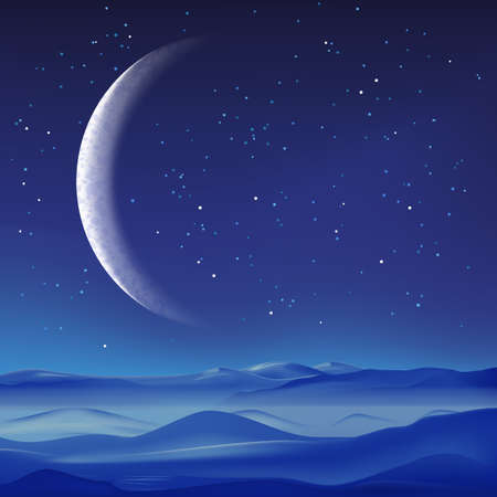 Vector realistic illustration of misty mountains landscape and crescent on blue sky. Night nature background. Ilustracja