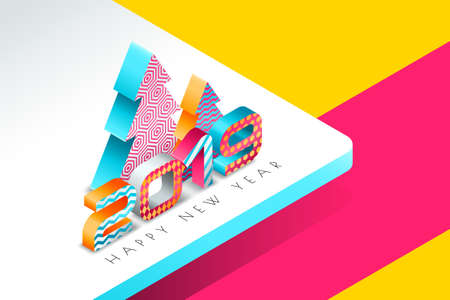 Happy New Year 2019 vector greeting card with multicolor numbers and Christmas tree in 3d isometric style. Abstract holiday background. Concept for New Year banner, poster, flyer, invitation.