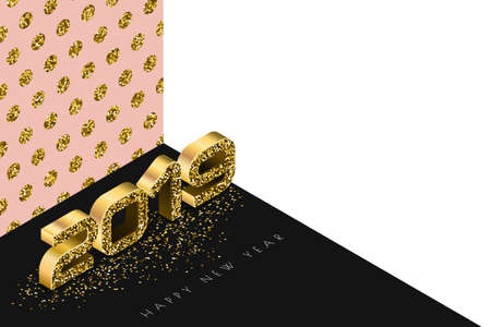 Happy New Year 2019 vector banner with golden numbers in 3d isometric style. Abstract holiday gold background. Holiday design elements for greeting card, poster, party invitation. 向量圖像
