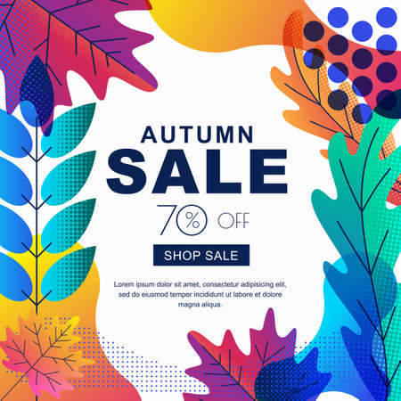 Fall seasonall sale vector square banner with color gradients leaves. Abstract autumn illustration background. Layout for poster, discount labels, flyers.