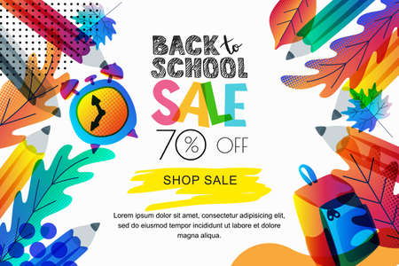 Vector horizontal back to school sale banner, poster background. Color gradients leaves, pencils, clock, backpack on white background. Layout for discount labels, flyers and shopping.