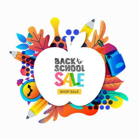 Vector back to school sale banner, poster template. Apple frame with color gradients leaves, pencils, clock, backpack isolated on white background. Layout for discount labels, flyers and shopping Stock Illustratie