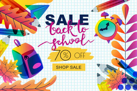 Vector horizontal back to school sale banner, poster template. Color gradients leaves, pencils, clock, backpack on notebook sheet of paper background. Layout for discount labels, flyers and shopping