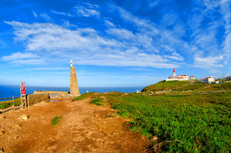 Road at Cape Roca. Cabo da Roca most western point in Europe. Zdjęcie Seryjne
