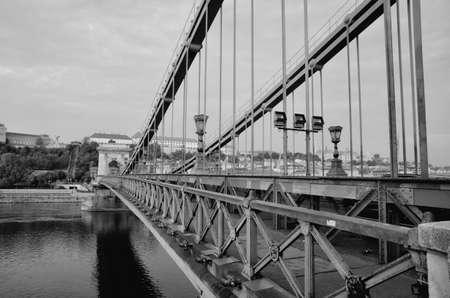 Close up of vintage metal fence of Chain Bridge. 版權商用圖片