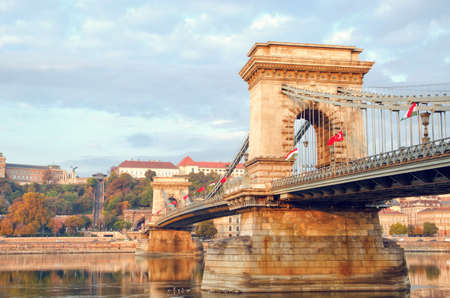 Chain Bridge in old city center of Budapest. Hungary travel destination and tourism landmark.